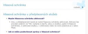 Informace o hlasové schránce pro předplacené služby - Telefonica O2
