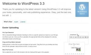 WordPress 3.3 - Uvítací obrazovka