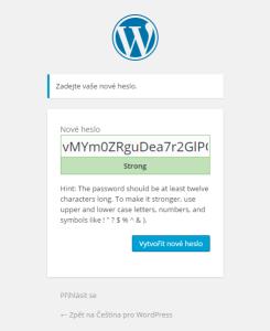 Změna hesla ve WordPressu: Automaticky generované nové heslo