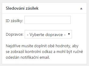 České služby 0.5: Sledování zásilek (nastavení v rámci objednávky)