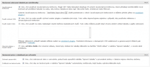 WP-Table Reloaded 1.5 - Možnosti nastavení zobrazování tabulek