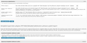 WP-Table Reloaded 1.5 - Nastavení pro administrátory a zálohování