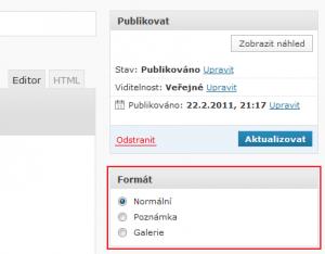 WordPress 3.1 - Formáty příspěvků
