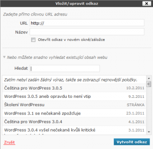 WordPress 3.1 - Odkazy na obsah vlastního webu