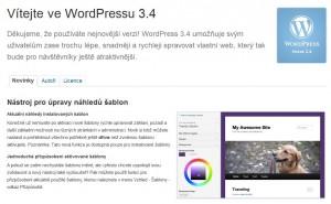 WordPress 3.4 - Uvítací obrazovka (CZ)