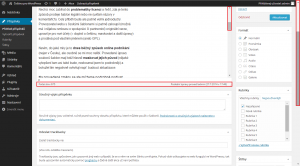 WordPress 3.9.1: Posuvník v editoru (posunutá stránka)