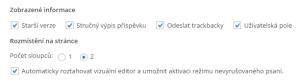 Nastavení zobrazených informací (WordPress 4.1)