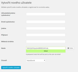 WordPress 4.3: Automatické generování hesel