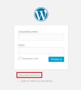 Změna hesla ve WordPressu: Přihlašovací obrazovka