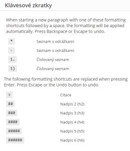 WordPress 4.3: Klávesové zkratky pro formátování textu